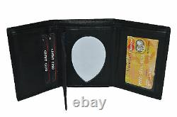 Leather Badge ID Holder'shield' Shape Trifold Wallet New Black Very Rare Wallet