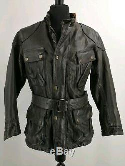 New BELSTAFF PANTHER 1966 Distressed Black Leather Jacket Size EU 42 Very Rare