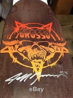 VERY RARE! Black Label Emergency Jeff Grosso signed Fang Tail skateboard deck