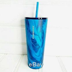 VERY RARE Starbucks 2018 MATTE BLUE MARBLE Stainless Tumbler VENTI 24oz Cold Cup