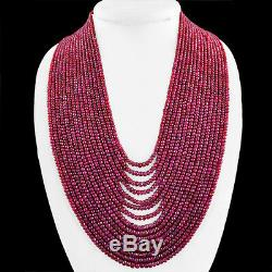 Very Rare 1640.00 Cts Natural 15 Strand Rich Red Ruby Round Cut Beads Necklace
