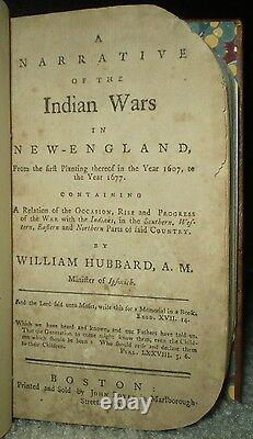 Very Rare, 1775, Hubbard, Narrative Of The Indian Wars In New England, Colonial