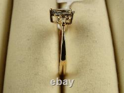 Very Rare AA Green Tanzanite Pear & Baguette Diamond 9K Y Gold Ring Size M/6