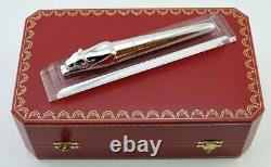 Very Rare Cartier Exceptional Panthere Solid Silver Fountain Pen 18k Gold M Nib