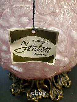 Very Rare, NIB Fenton Dusty Rose Overlay Glass Gone WithThe Wind Lamp Poppies 24