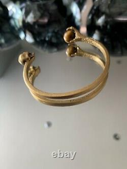 Very Very Rare Authentic Stunning Alexander McQueen Metal Skull Claw Bangle Gold